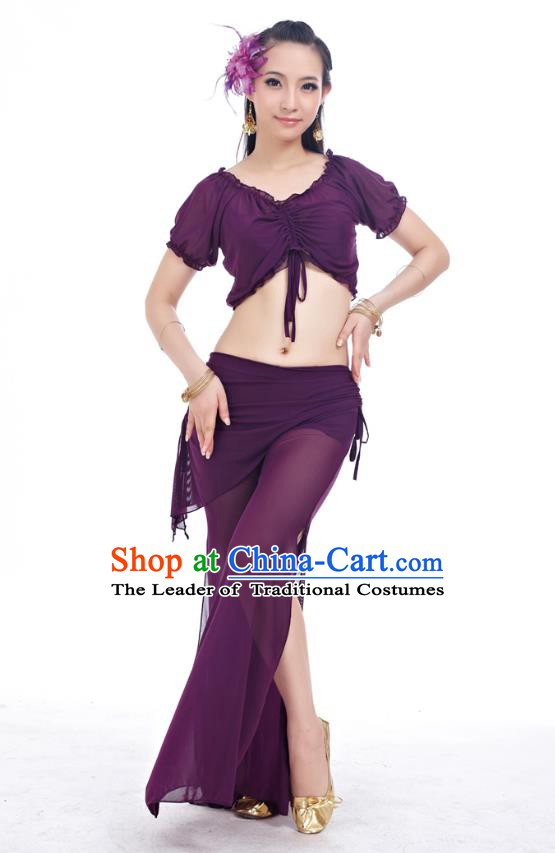 Indian Traditional Belly Dance Purple Costume India Oriental Dance Clothing for Women