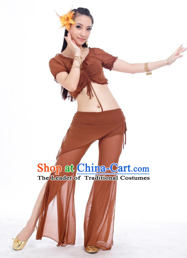 Indian Traditional Belly Dance Brown Costume India Oriental Dance Clothing for Women