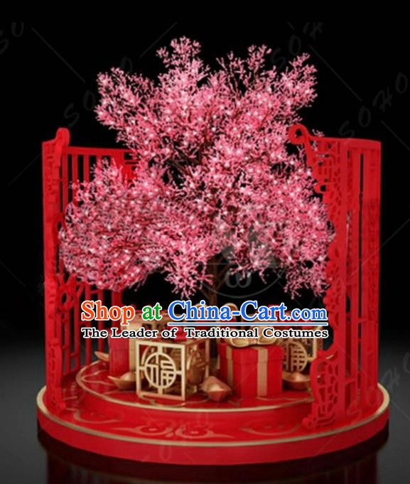 China Traditional Peach Blossom Arrangement Lamp Decorations Lamplight Stage Display Lanterns