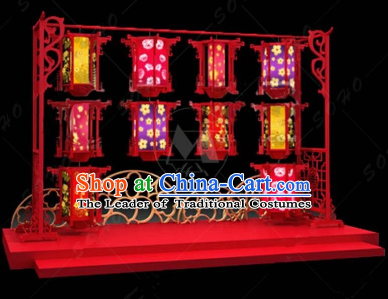 China Traditional Lanterns Holder Arrangement Lamp Decorations Lamplight Stage Display Lanterns