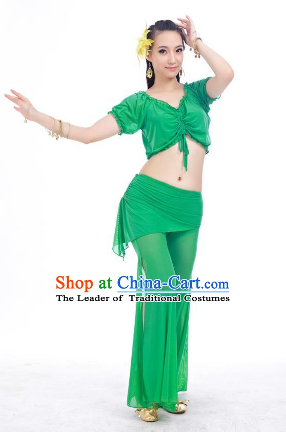 Indian Traditional Belly Dance Deep Green Costume India Oriental Dance Clothing for Women