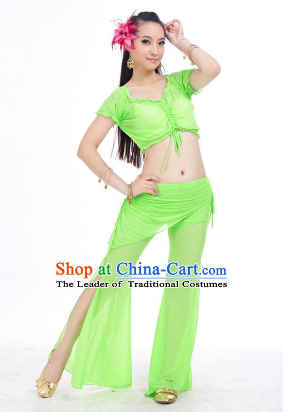 Indian Traditional Belly Dance Light Green Costume India Oriental Dance Clothing for Women