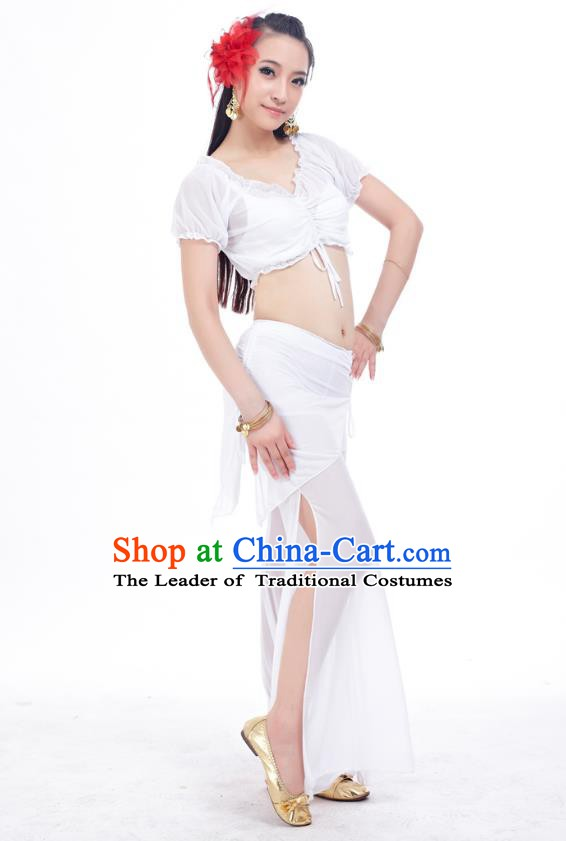 Indian Traditional Belly Dance White Costume India Oriental Dance Clothing for Women