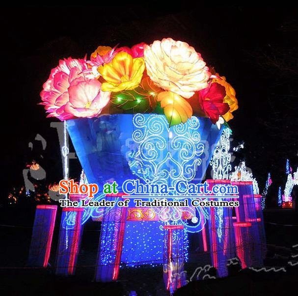 China Traditional Peony Lanterns Arrangement LED Lamp Decorations Lamplight Stage Display Lanterns