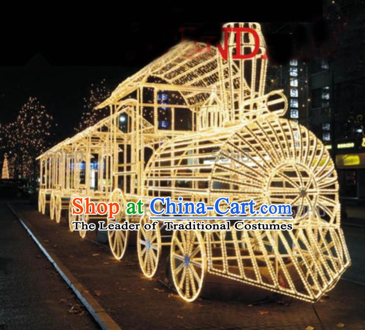 Traditional Christmas Train LED Lights Show Lamps Decorations Stage Lamplight Display Lanterns
