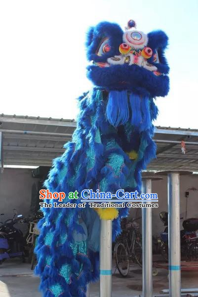 Chinese Traditional Parade Blue Wool Lion Head Professional Lion Dance Costumes Complete Set