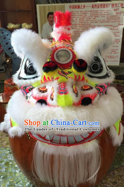 Chinese Traditional Parade Lion Head Professional White Wool Lion Dance Costumes Complete Set