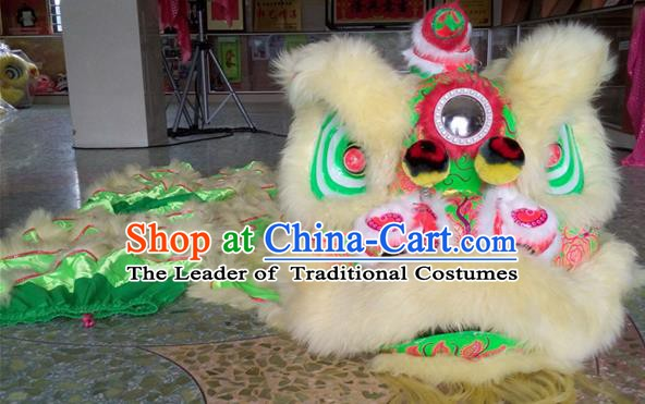 Top Grade Chinese Traditional Green Wool Lion Head Professional Lion Dance Costumes Complete Set