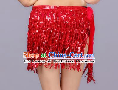 Indian Traditional Belly Dance Red Sequin Waist Scarf Waistband India Raks Sharki Belts for Women