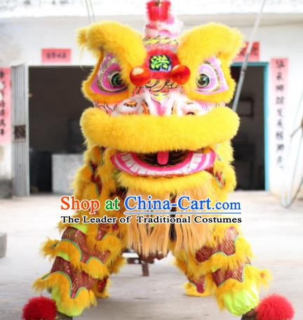 Top Grade Chinese Traditional Yellow Lion Head Professional Wool Lion Dance Costumes Complete Set