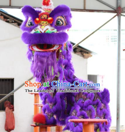Top Grade Chinese Traditional Purple Lion Head Professional Wool Lion Dance Costumes Complete Set