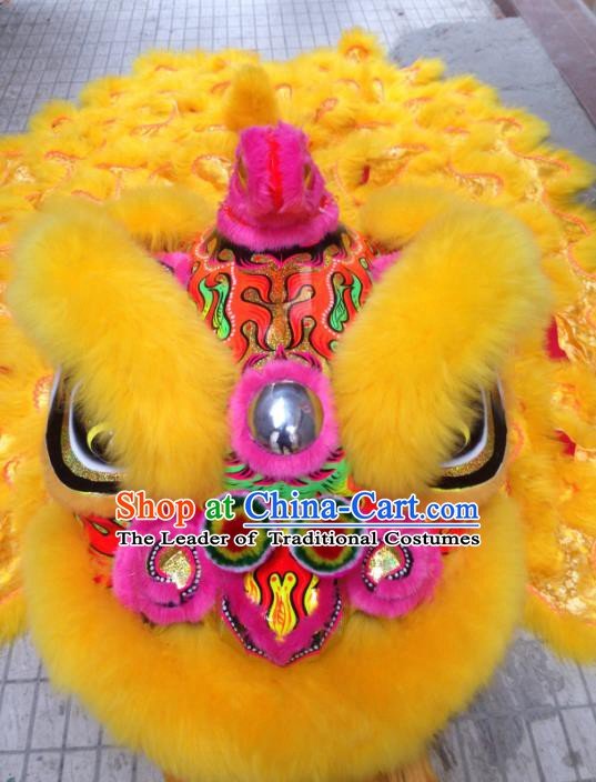 Chinese Professional Lion Dance Costumes Celebration and Parade Long Wool Pink Lion Head Complete Set