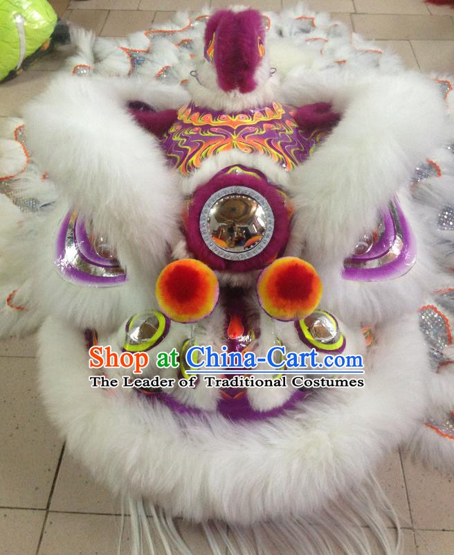 Chinese Professional Lion Dance Costumes Celebration and Parade Wool Purple Lion Head Complete Set