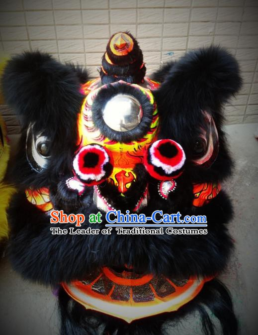 Chinese Traditional Professional Lion Dance Costumes Celebration and Parade Wool Lion Head Complete Set