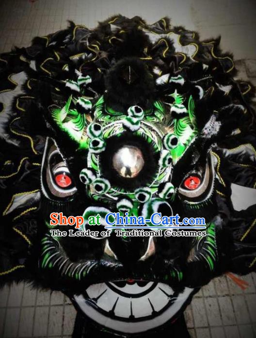 Chinese Professional Lion Dance Black Costumes Celebration and Parade Wool Lion Head Complete Set