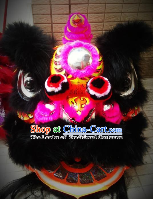 Chinese Traditional Professional Lion Dance Costumes Celebration and Parade Wool Rosy Lion Head Complete Set