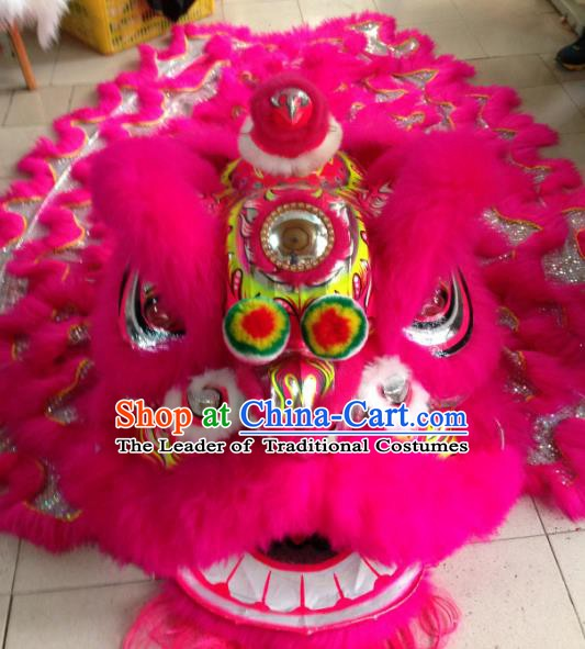 Chinese Traditional Professional Lion Dance Costumes Celebration and Parade Rosy Wool Lion Head Complete Set