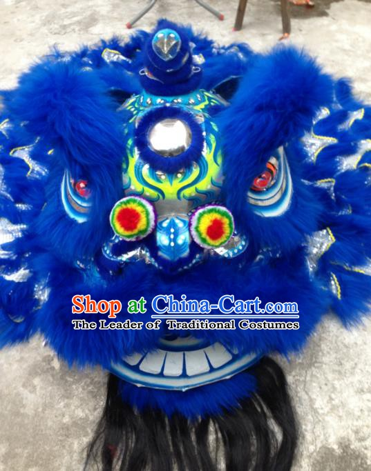 Chinese Traditional Professional Blue Wool Lion Dance Costumes Celebration and Parade Lion Head Complete Set