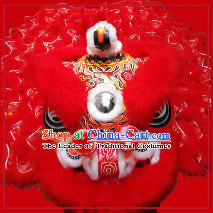 Chinese Traditional Red Wool Lion Dance Costumes Professional Celebration and Parade Lion Head Complete Set