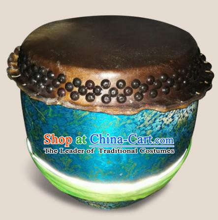 China Traditional Lion Dance Instruments Cowhide Drum Lion Blue Leather Drums