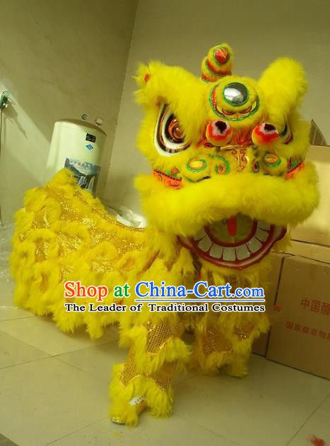 Chinese Traditional Yellow Wool Lion Dance Costumes Professional Celebration Parade Lion Head Complete Set