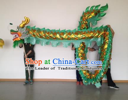 Chinese Professional Green Dragon Dance Costumes Lantern Festival Celebration Dragon Parade Props Complete Set