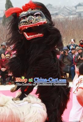Chinese Traditional Parade Black Long Wool Lion Head Professional Lion Dance Costumes Complete Set