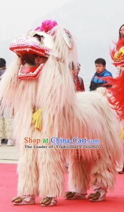 Chinese Traditional Parade White Long Wool Lion Head Professional Lion Dance Costumes Complete Set