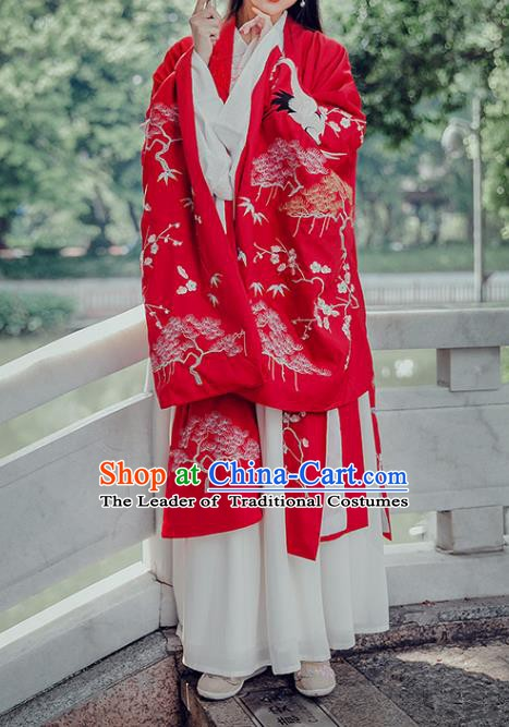 Traditional Chinese Ancient Wedding Costume Ming Dynasty Princess Embroidered Hanfu Cloak for Women