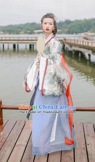 Traditional Chinese Ancient Costume Jin Dynasty Princess Hanfu Dress Clothing for Women