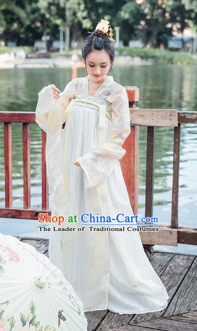 Traditional Chinese Ancient Hanfu Dress Tang Dynasty Princess Embroidered Costume for Women