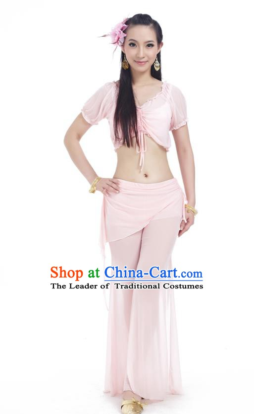 Indian Traditional Belly Dance Light Pink Costume India Oriental Dance Clothing for Women