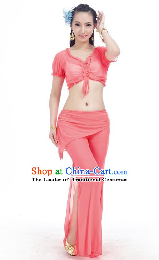 Indian Traditional Belly Dance Watermelon Red Costume India Oriental Dance Clothing for Women