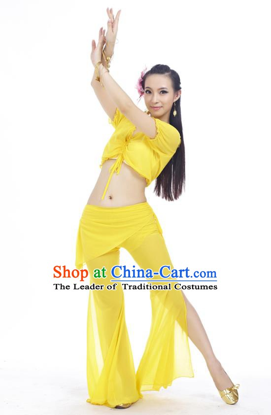 Indian Traditional Belly Dance Yellow Costume India Oriental Dance Clothing for Women