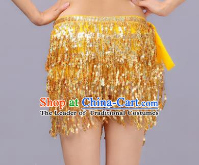 Indian Traditional Belly Dance Golden Sequin Waist Scarf Waistband India Raks Sharki Belts for Women