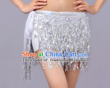 Indian Traditional Belly Dance White Sequin Waist Scarf Waistband India Raks Sharki Belts for Women