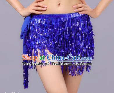 Indian Traditional Belly Dance Royalblue Sequin Waist Scarf Waistband India Raks Sharki Belts for Women