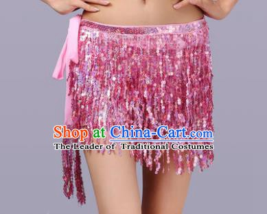 Indian Traditional Belly Dance Pink Sequin Waist Scarf Waistband India Raks Sharki Belts for Women