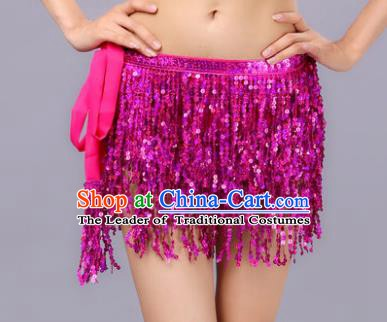 Indian Traditional Belly Dance Rosy Sequin Waist Scarf Waistband India Raks Sharki Belts for Women