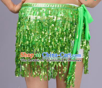 Indian Traditional Belly Dance Light Green Sequin Waist Scarf Waistband India Raks Sharki Belts for Women