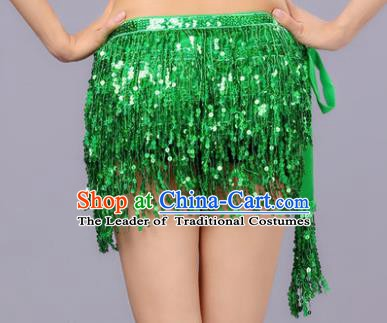 Indian Traditional Belly Dance Green Sequin Waist Scarf Waistband India Raks Sharki Belts for Women
