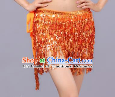 Indian Traditional Belly Dance Orange Sequin Waist Scarf Waistband India Raks Sharki Belts for Women