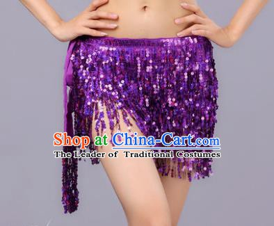 Indian Traditional Belly Dance Purple Sequin Waist Scarf Waistband India Raks Sharki Belts for Women