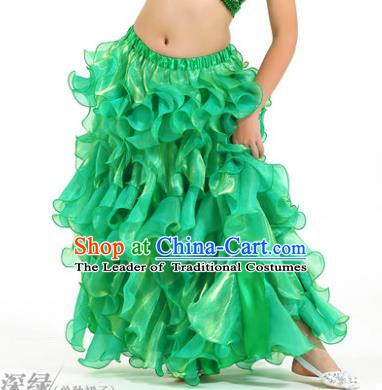 Traditional Indian Belly Dance Green Skirts Asian India Oriental Dance Costume for Women