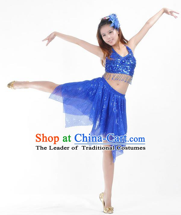 Traditional Indian Belly Dance Royalblue Sequin Clothing India Oriental Dance Costume for Women
