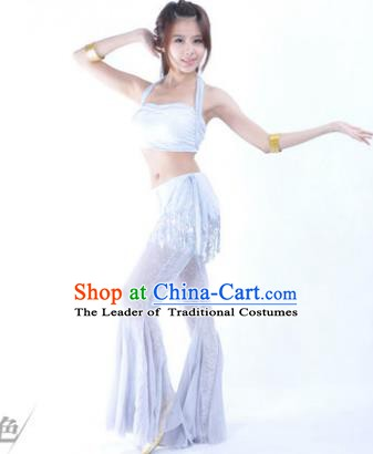 Traditional Indian Belly Dance Training Clothing India Oriental Dance White Outfits for Women