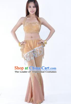 Traditional Indian Belly Dance Training Clothing India Oriental Dance Khaki Outfits for Women