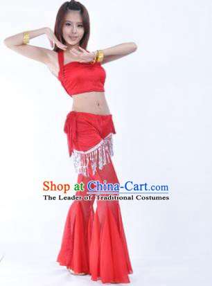 Traditional Indian Belly Dance Training Clothing India Oriental Dance Red Outfits for Women