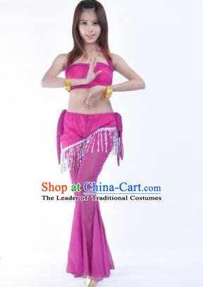 Traditional Indian Belly Dance Training Clothing India Oriental Dance Rosy Outfits for Women