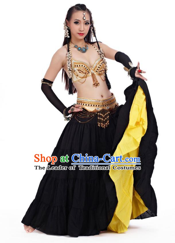 Indian Primitive Tribe Belly Dance Yellow Dress Costume India Oriental Dance Clothing for Women